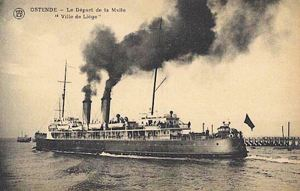 The first ship to leave Admiralty Pier for Ostend was the Ville de Liege on 18 January 1919