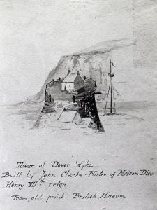 The Wick / Wyke / King's Foundation / Mole Head Rock or Moule Rodd - built by John Clarke 16th cent. From a British Museum print. Dover Library