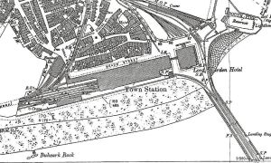 Location of South Eastern Railway' s Town Station in Dover. 1890