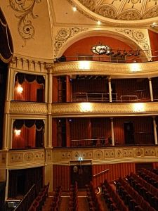 Auditorium of Theatre Royal Bath designed by C J Phipps (1835–1897) who designed the interior of Dover's Tivoli Theatre. Thanks to Theatre Royal Bath.