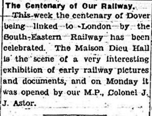Centenary celebrations of the Opening of the South Eastern Railway - Dover Express 11.02.1944