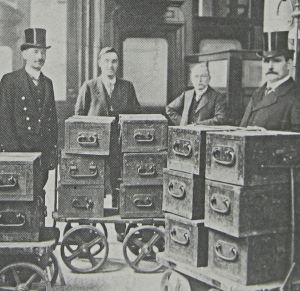 Chests similar to the ones that the gold was carried on trains c1860