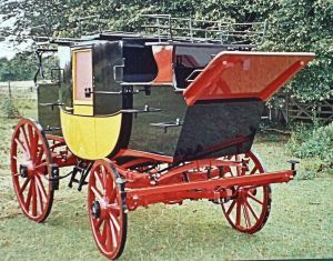 Mid 19th century top quality coach similar to those produced by Hills and restored by Tony Newton with the upholstery by Nick Woods of Fairbourne Carriages. Courtesy of Tony Newton