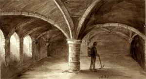 Crypt of St Martin's Monastery, Bench Street 1836 drawn by Rev J Maule courtesy of Dover Museum