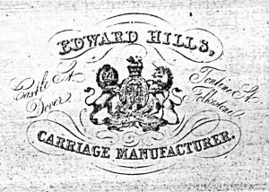 Edward Hills advert in the Dover & Folkestone Directory, Sinnock, Howard & Co 1875. Folkestone Library