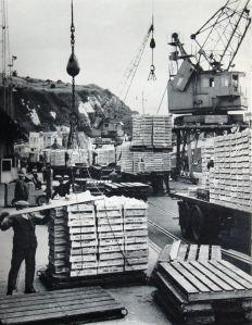 Granville Dock - unloading cargo. Dover Harbour Board
