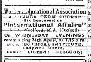 Jack Woolford's Workers Educational Association course advert 19.04.1945
