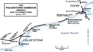 SECR Line from Folkestone Harbour to Dover 1914. Alan Young Disused-stations.org