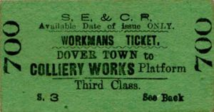 Railway ticket from Dover to Shakespeare Colliery post 1899 . Michael Stewart Collection