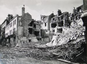 Snargate Street following shelling that destroyed the Royal Hippodrome. Kent Messenger.
