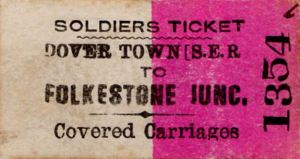 South Eastern Railway c1850s soldiers ticket Dover to Folkestone Junction. Michael Stewart Collection