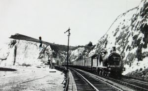 South Eastern Railway line on trestles along Shakespeare Beach. Dover Library