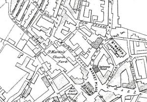Map showing location of St Martin's Churchyard Dover 1844