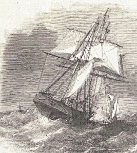 Pilot boat going to a vessel in heavy weather. Illustrated London News October 1857. Dover Library