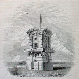 Pilots Tower opened in 1848. The ground floor was gutted in 1864 to enable the London, Chatham & Dover railway company line to go through the tower from Harbour railway station on to Admiralty Pier. Dover Library