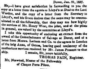 Report of a Lloyds agent commending pilots Henry West and James Prescott 21 January 1837
