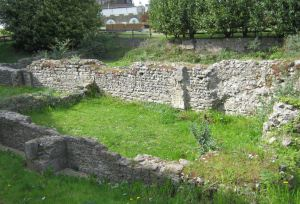 Ruins of St Martin-le Grand besides the steps leading to the Dover Discovery Centre. LS April 2012