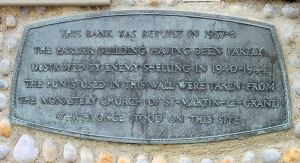 Plaque on the outside wall of NatWest bank, Market Square, dedicated to St Martin-le-Grand. Alan Sencicle