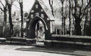 St Martin's Cemetery entance, once the central Apse, c 1950s. Courtesy of Dover Library