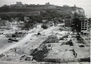 Townwall Street 1950s during the building of the Gateway Flats. Courtesy of David G Atwood.
