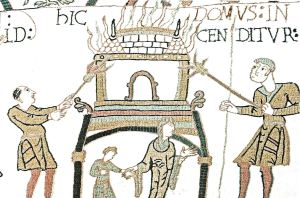 Bayeaux Tapestry showing the Burning of Dover. courtesy of Dover Museum
