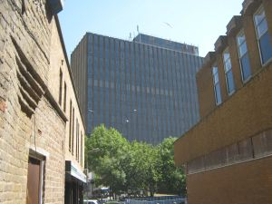 Burlington House from Fishmonger's Lane, Centurion House on right both earmarked for demolition as part of the St James Area