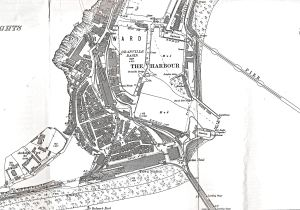 Granville Dock with Pier District on the left and Tidal Harbour on right. Archcliffe Fort is at extreme right. 1890