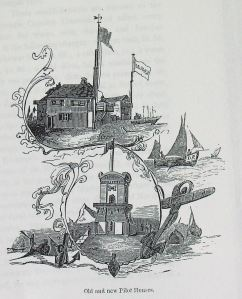 The ornate Pilots Tower that opened 1848 drawing shows old Pilots station that was on Cheeseman's Head. Thanks to Evelyn Robinson
