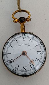 Watch belonging to Deal Pilot Gideon Chitty (1739-1788). The face instead of numbers is his name. Adrian Chitty