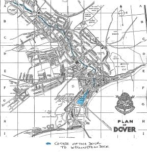 1948 map of Dover showing the course of the River Dour from Crabble to Wellington Dock