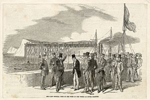 Admiralty Pier construction being inspected by the Duke of Wellington (1769-1852). Dover Museum