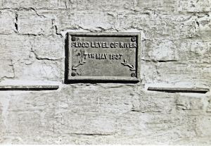 Flood level plaque, St James's Lane 7 May 1937 and taken by D. J Edward in September 1953. Dover Library