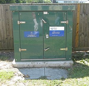 Flood prevention control box, Maison Dieu Road, installed by Southern Water Limited. The flood prevention pumps are nearby underground.
