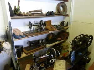 Greenstreet bootmakers shop, Bench Street, mock-up at Dover Transport Museum showing the different sewing machines and other artefacts used in the boot/shoe making trade. AS 2014