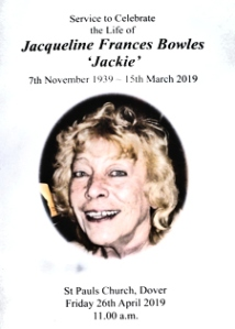 Jackie Bowles (1939-2019) Service to Celebrate the Life of Jackie Bowles, Dover's Queen of Music