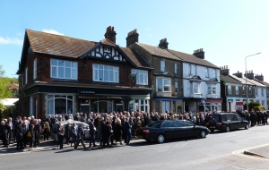 The start of Jackie Bowles Funeral procession from the Louis Armstrong to St Paul's Church Friday 26 April 2019