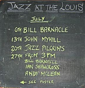 Jazz Programme for July 2014 not Bill Barnacle on Sunday and the other East Kent jazz legend, Ian Shawcross