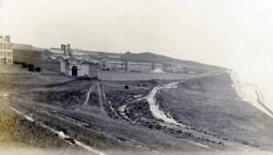 Langdon Prison 1905 built to provide labour for the proposed Harbour of Refuge. Dover Museum