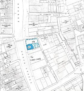 Map circa1900, showing Fred's shop, Caves Café, Bench Street, Fishmongers Lane and Thornton Street