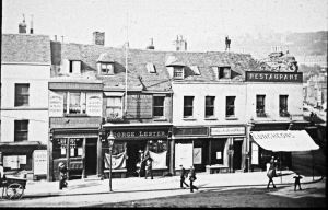 Market Square north c1880 the shops existing then had developed from a mansion that had been built on the site in the 17th century. Dover Museum