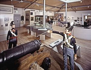 Models of soldiers at the Drop Redoubt, Western Heights c1812 top floor. Dover Museum