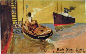 Pilot Boat going to a Red Star cruise liner c1910. Thanks to Barrie Wilson
