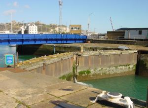 Wellington dock gates from the Tidal Basin with Swing Bridge in the background. Alan Sencicle 2009