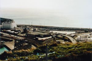 Western Docks and former Lord Warden Hotel from Western Heights c1990s showing the concreting that has since been increased.