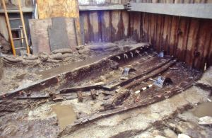 Bronze Age Boat discovered while excavating for the A20 underpass September 1992. Thanks to Nick Edwards