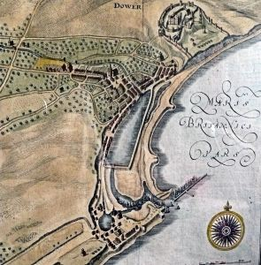 Early 16th century map of Dover. St Peter's Church can be seen on the north side of Market Square. Ian Cook