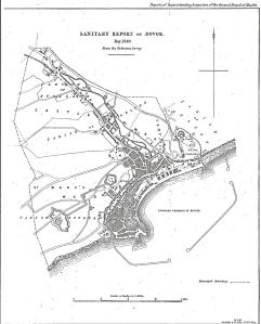 Harbour of Refuge proposal 1844 from Rawlinson Sanitary Map of 1846