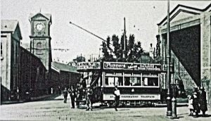 A Dover tram coming out of the tram shed at the bottom of Crabble Hill.