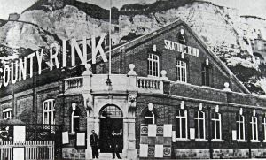 The pre-War Territorial Army Drill Hall at Mote Bulwark that became the County Skating rink before commandeered by the Royal Navy for the WWI Seaplane service. Following the end of the War, it reverted to its original purpose as a Territorial Army Drill Hall. Hollingsbee Collection