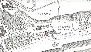 Mote Bulwark specified as 'Battery' in the above 1890 map with Guilford battery in front.